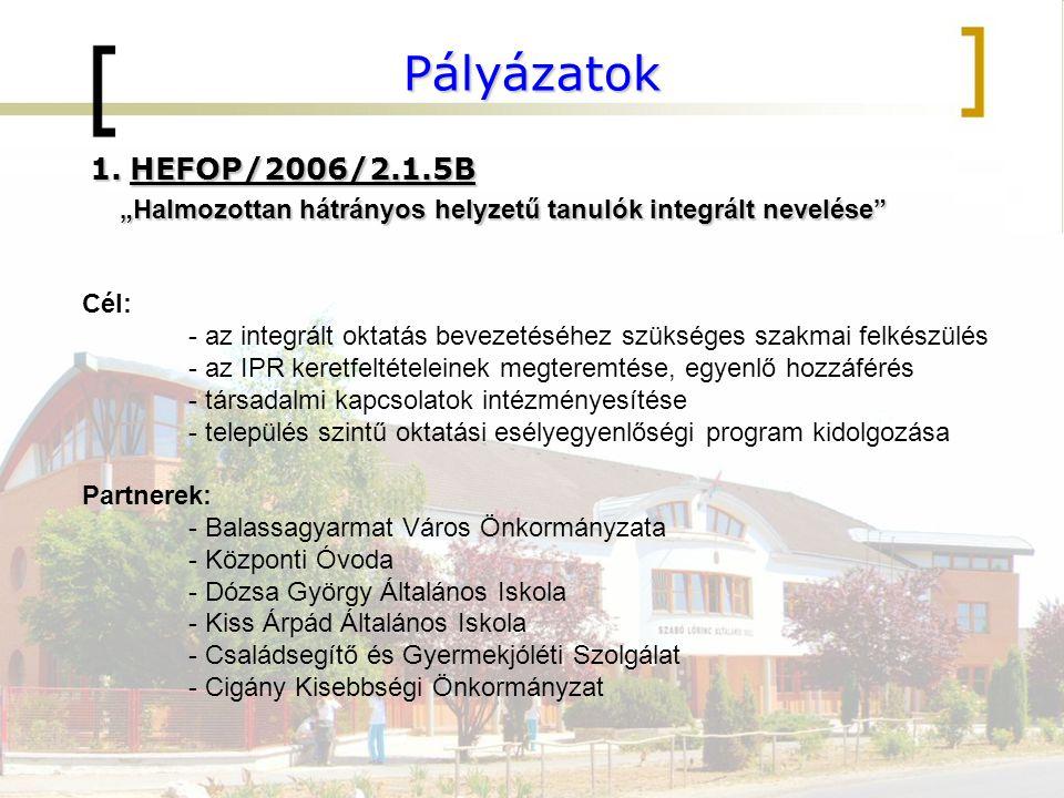 """Pályázatok HEFOP/2006/2.1.5B. """"Halmozottan hátrányos helyzetű tanulók integrált nevelése Cél:"""