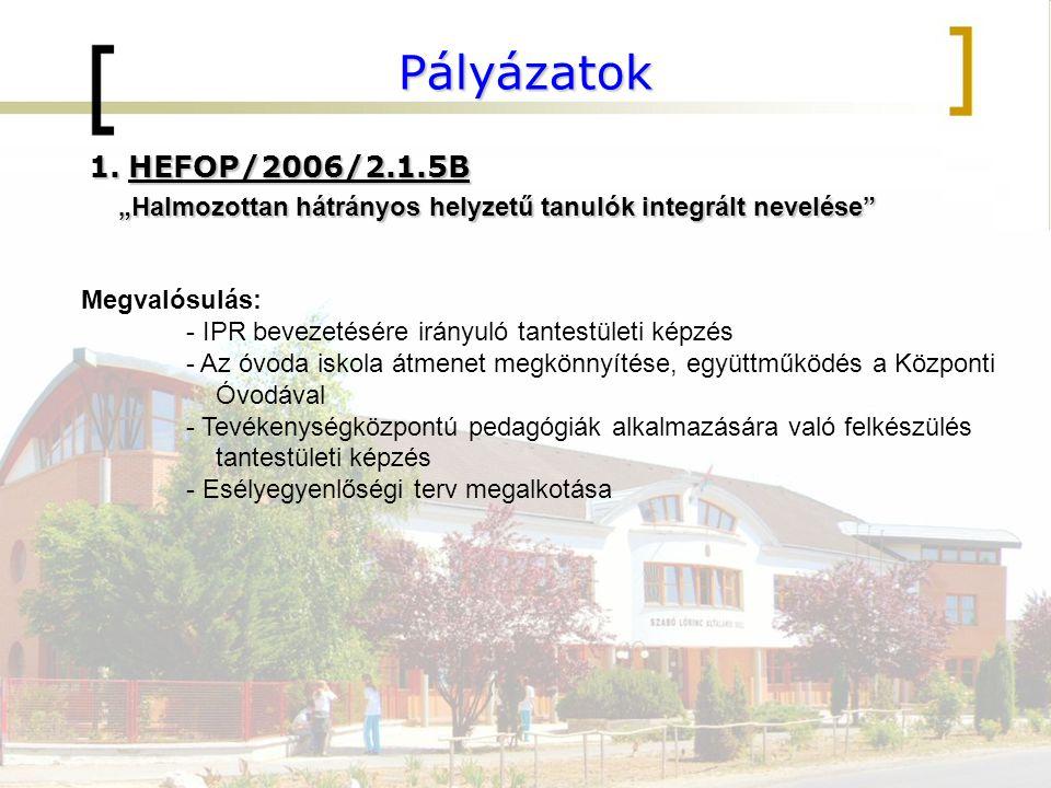 """Pályázatok HEFOP/2006/2.1.5B. """"Halmozottan hátrányos helyzetű tanulók integrált nevelése Megvalósulás:"""