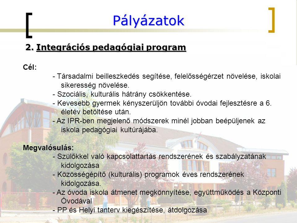 Pályázatok Integrációs pedagógiai program Cél: