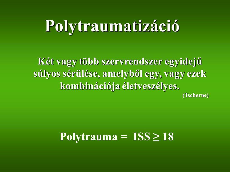 Polytraumatizáció Polytrauma = ISS ≥ 18