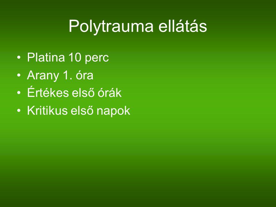 Polytrauma ellátás Platina 10 perc Arany 1. óra Értékes első órák