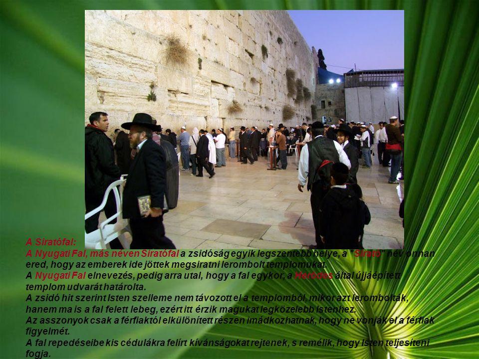A Siratófal: A Nyugati Fal, más néven Siratófal a zsidóság egyik legszentebb helye, a Sirató név onnan ered, hogy az emberek ide jöttek megsiratni lerombolt templomukat. A Nyugati Fal elnevezés, pedig arra utal, hogy a fal egykor, a Heródes által újjáépített templom udvarát határolta.