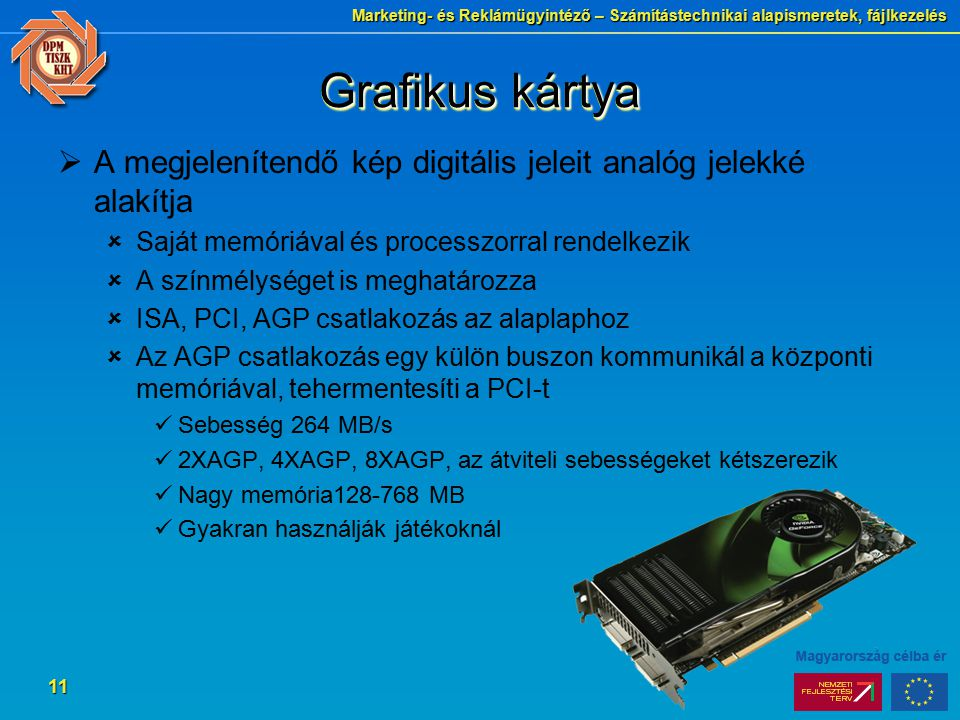 Grafikus kártya A megjelenítendő kép digitális jeleit analóg jelekké alakítja. Saját memóriával és processzorral rendelkezik.
