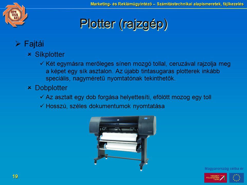 Plotter (rajzgép) Fajtái Síkplotter Dobplotter