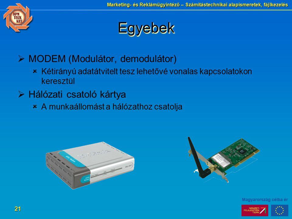 Egyebek MODEM (Modulátor, demodulátor) Hálózati csatoló kártya
