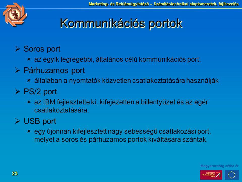 Kommunikációs portok Soros port Párhuzamos port PS/2 port USB port