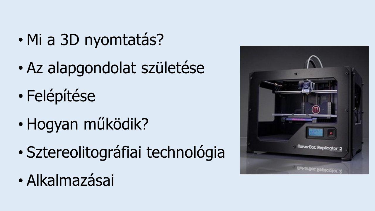 Mi a 3D nyomtatás Az alapgondolat születése. Felépítése. Hogyan működik Sztereolitográfiai technológia.