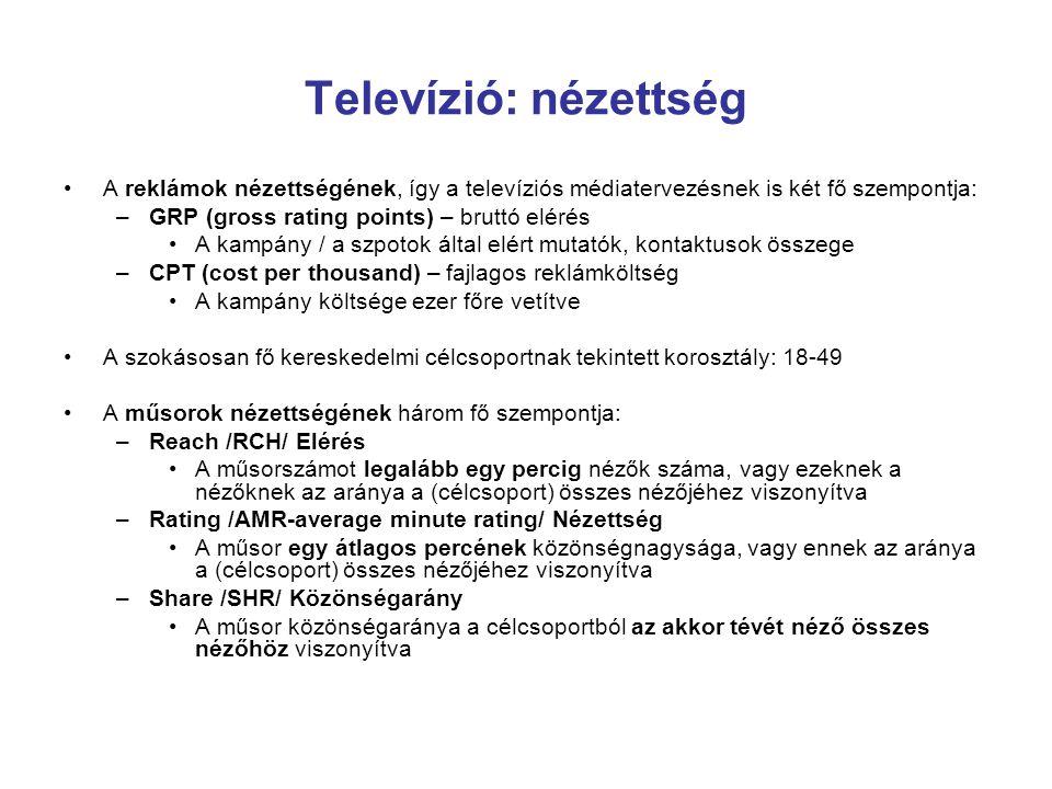 Televízió: nézettség A reklámok nézettségének, így a televíziós médiatervezésnek is két fő szempontja:
