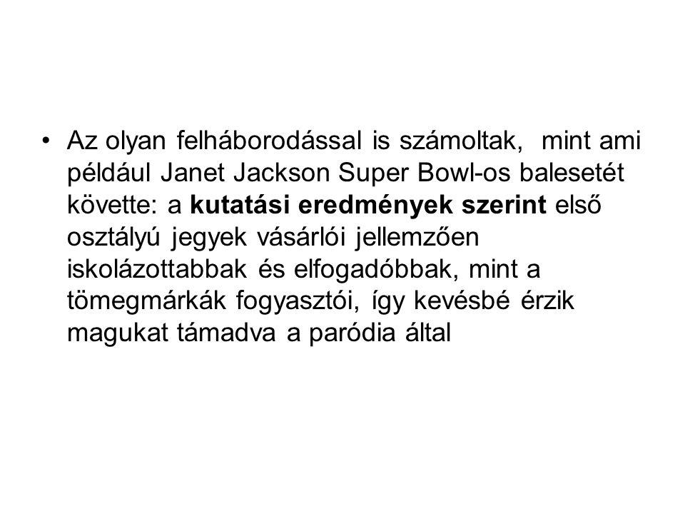 Az olyan felháborodással is számoltak, mint ami például Janet Jackson Super Bowl-os balesetét követte: a kutatási eredmények szerint első osztályú jegyek vásárlói jellemzően iskolázottabbak és elfogadóbbak, mint a tömegmárkák fogyasztói, így kevésbé érzik magukat támadva a paródia által