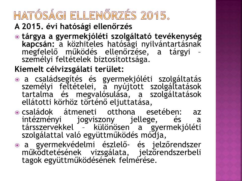 HATÓSÁGI ELLENŐRZÉS 2015. A 2015. évi hatósági ellenőrzés