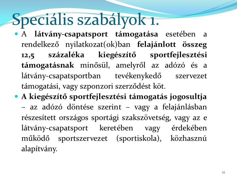 Speciális szabályok 1.