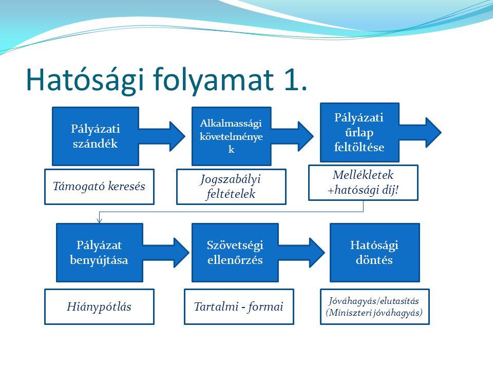 Hatósági folyamat 1. Pályázati űrlap feltöltése Pályázati szándék