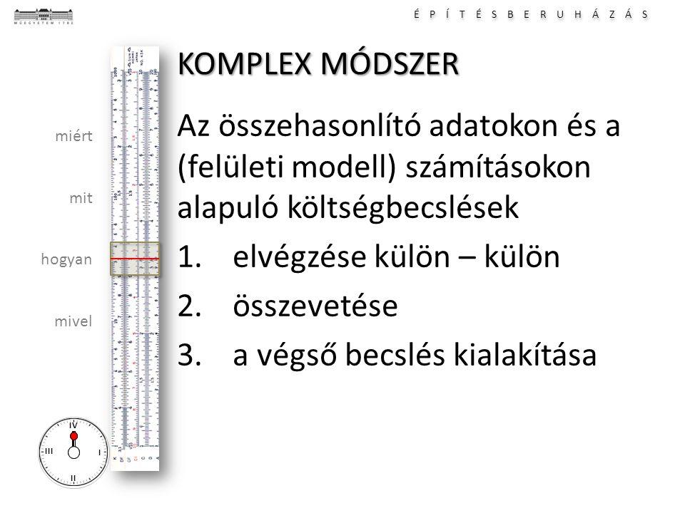 KOMPLEX MÓDSZER Az összehasonlító adatokon és a (felületi modell) számításokon alapuló költségbecslések.