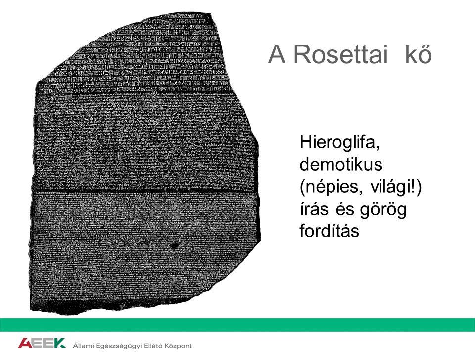 A Rosettai kő Hieroglifa, demotikus (népies, világi!)