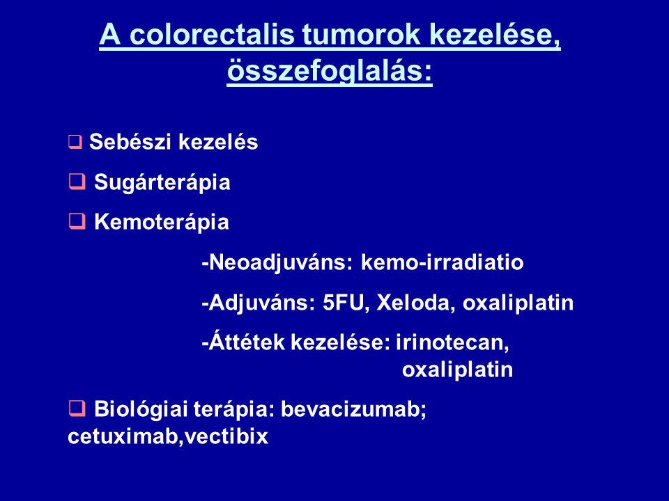 A colorectalis tumorok kezelése, összefoglalás: