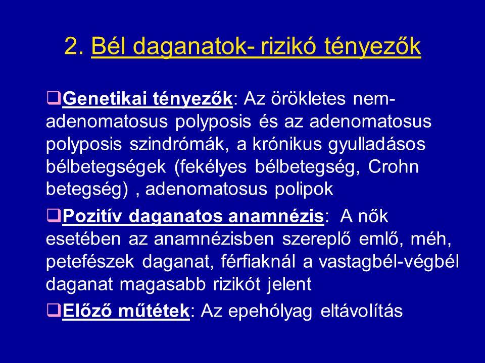 2. Bél daganatok- rizikó tényezők