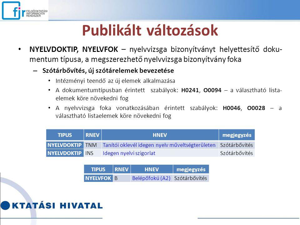 Publikált változások NYELVDOKTIP, NYELVFOK – nyelvvizsga bizonyítványt helyettesítő doku-mentum típusa, a megszerezhető nyelvvizsga bizonyítvány foka.