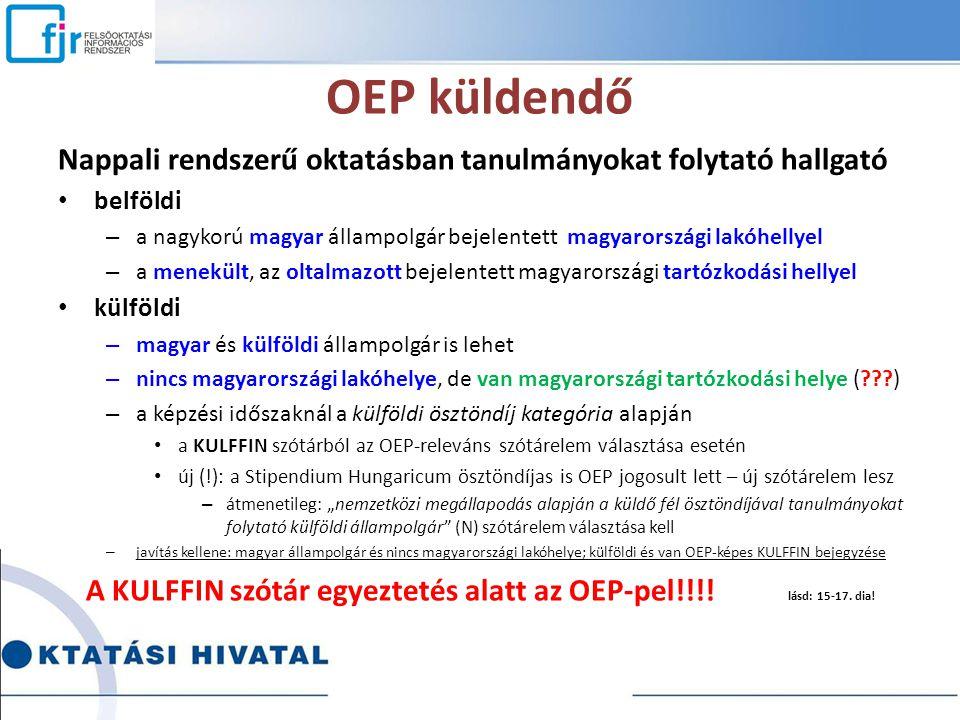 A KULFFIN szótár egyeztetés alatt az OEP-pel!!!! lásd: 15-17. dia!