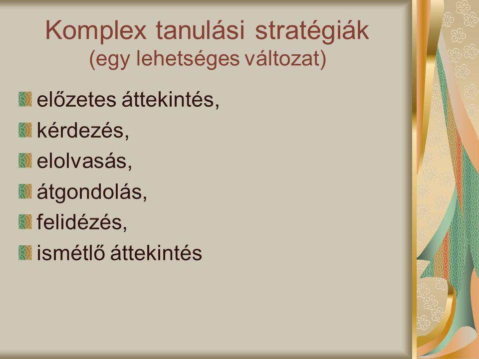 Komplex tanulási stratégiák (egy lehetséges változat)