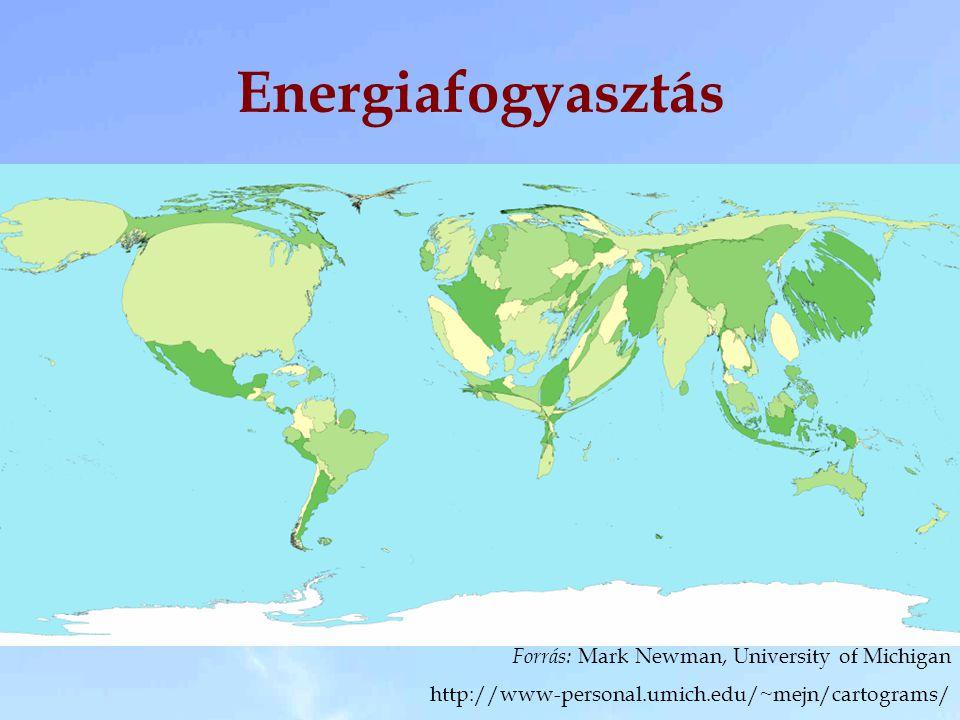 Energiafogyasztás Forrás: Mark Newman, University of Michigan