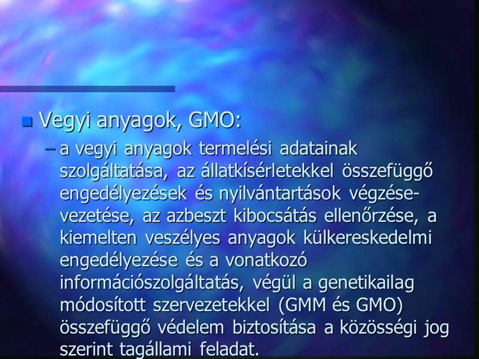 Vegyi anyagok, GMO: