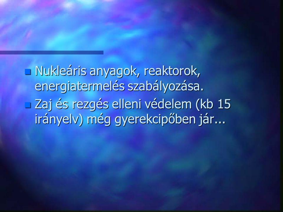 Nukleáris anyagok, reaktorok, energiatermelés szabályozása.