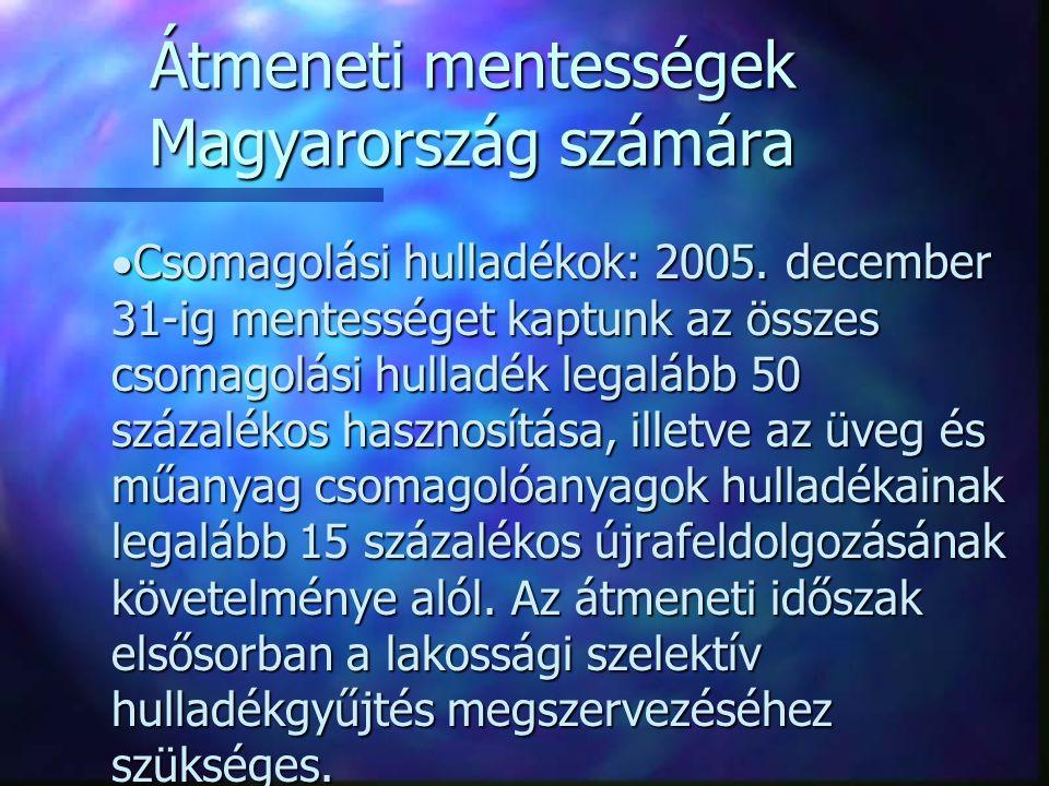 Átmeneti mentességek Magyarország számára