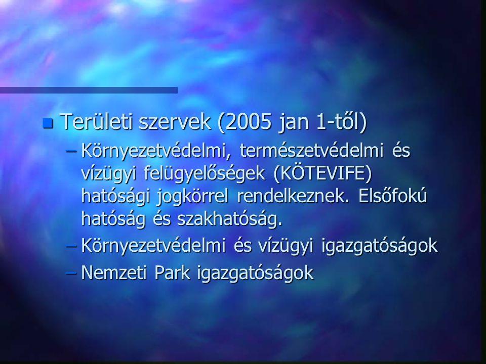 Területi szervek (2005 jan 1-től)