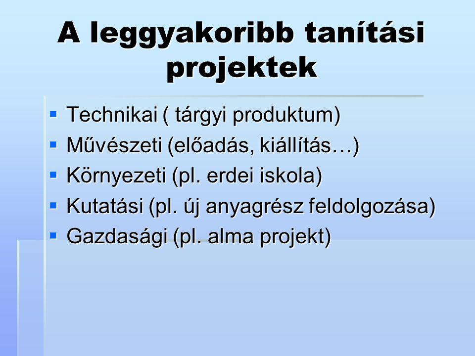A leggyakoribb tanítási projektek