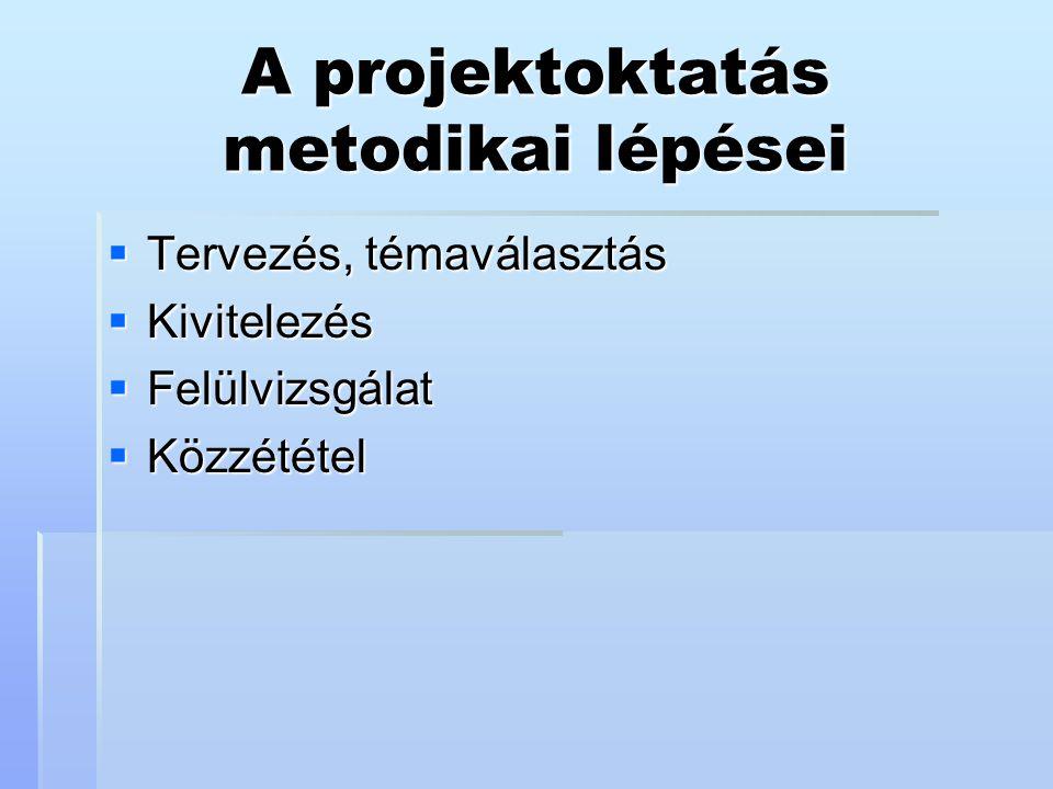A projektoktatás metodikai lépései