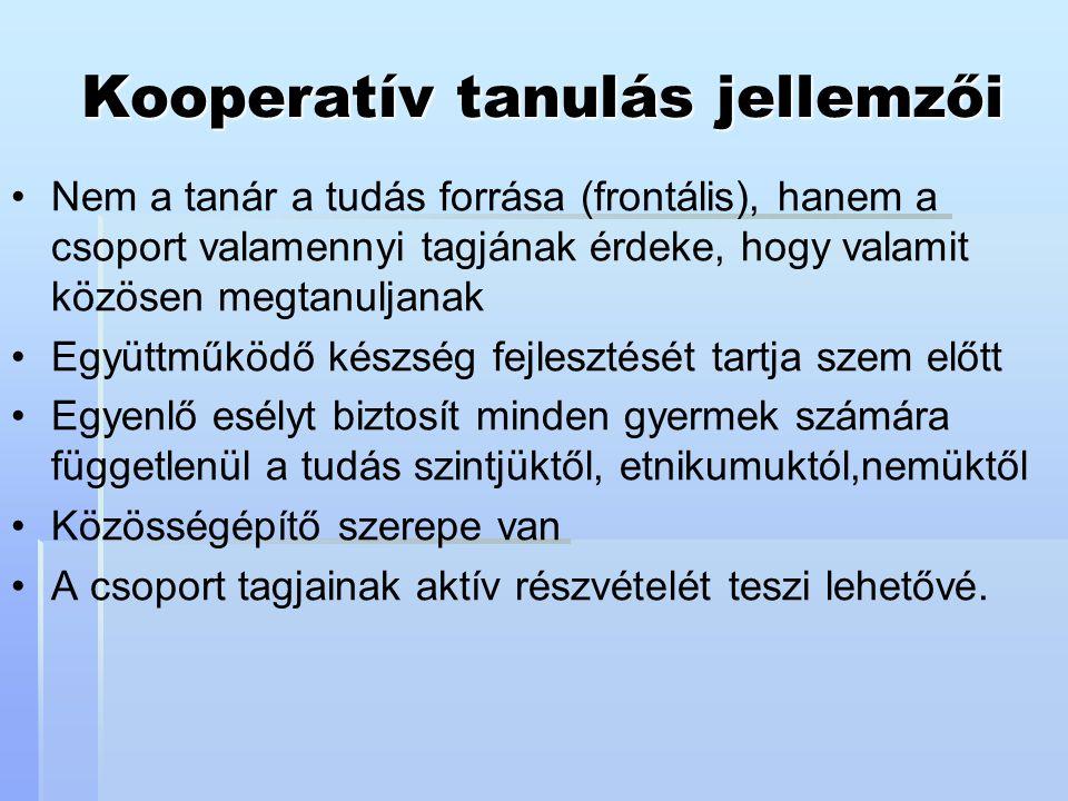 Kooperatív tanulás jellemzői