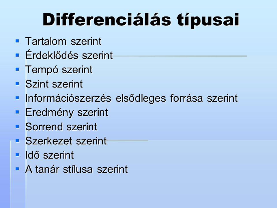 Differenciálás típusai