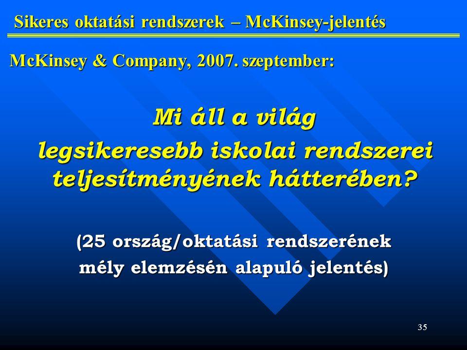 Sikeres oktatási rendszerek – McKinsey-jelentés