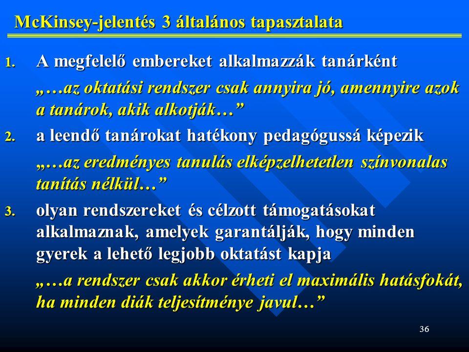 McKinsey-jelentés 3 általános tapasztalata