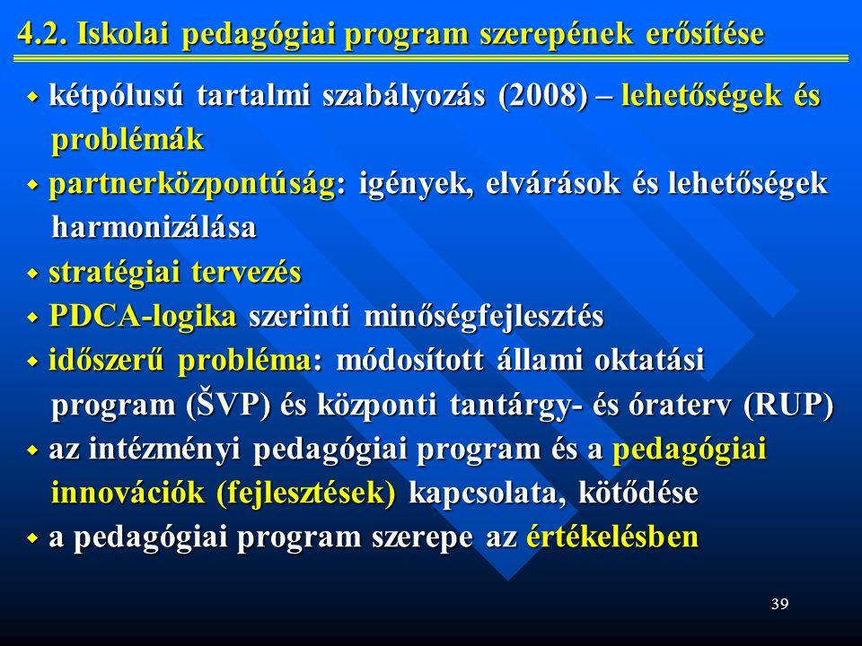 4.2. Iskolai pedagógiai program szerepének erősítése