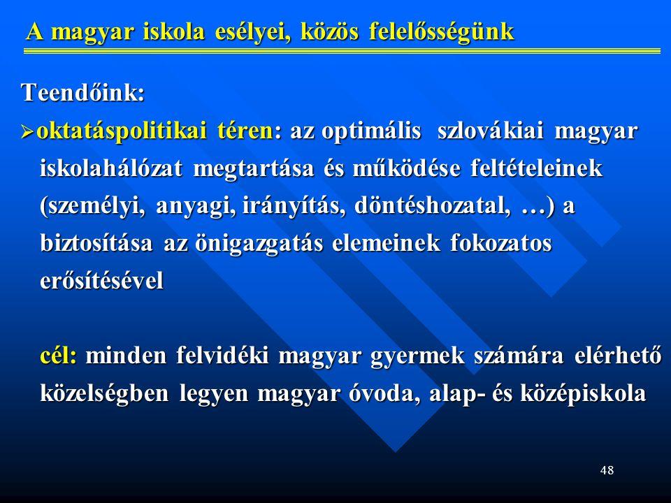 A magyar iskola esélyei, közös felelősségünk