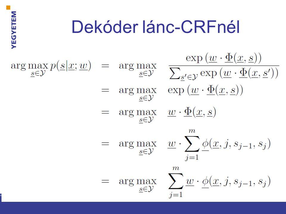 Viterbi lánc-CRFhez inicializáció: