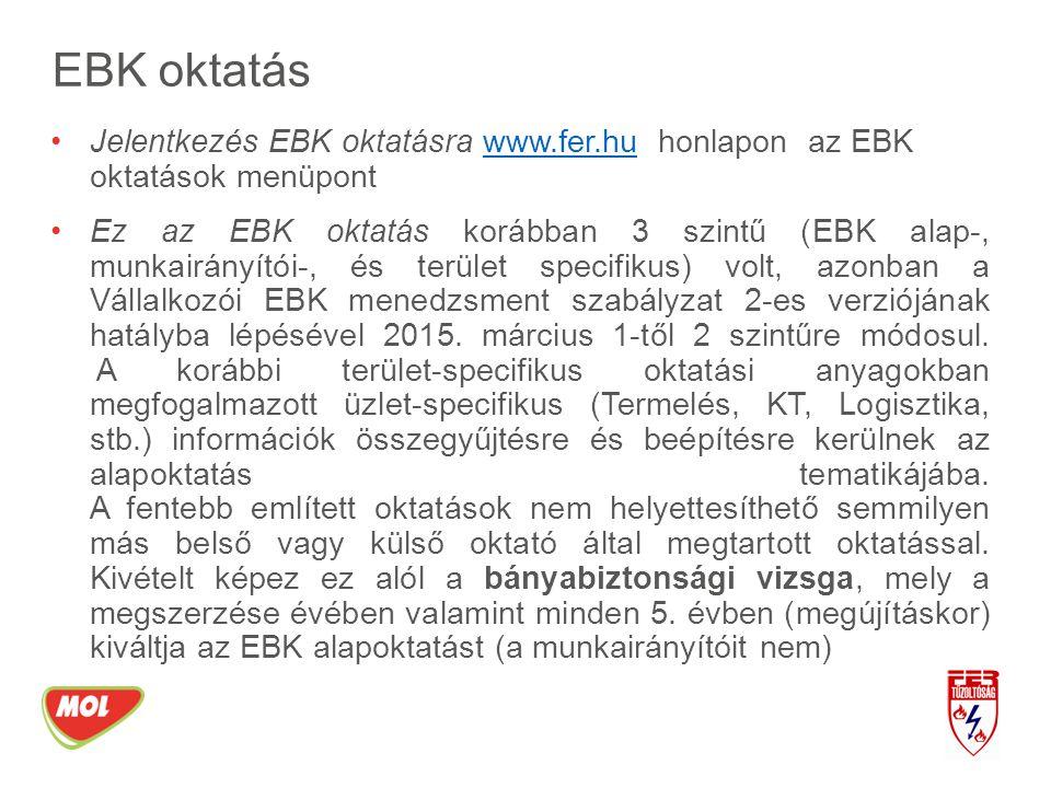 EBK oktatás Jelentkezés EBK oktatásra www.fer.hu honlapon az EBK oktatások menüpont.