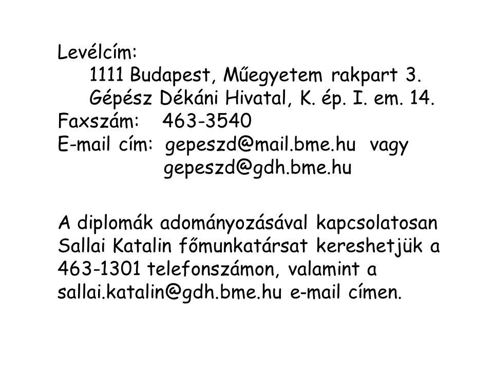 Levélcím: 1111 Budapest, Műegyetem rakpart 3. Gépész Dékáni Hivatal, K. ép. I. em. 14. Faxszám: 463-3540.