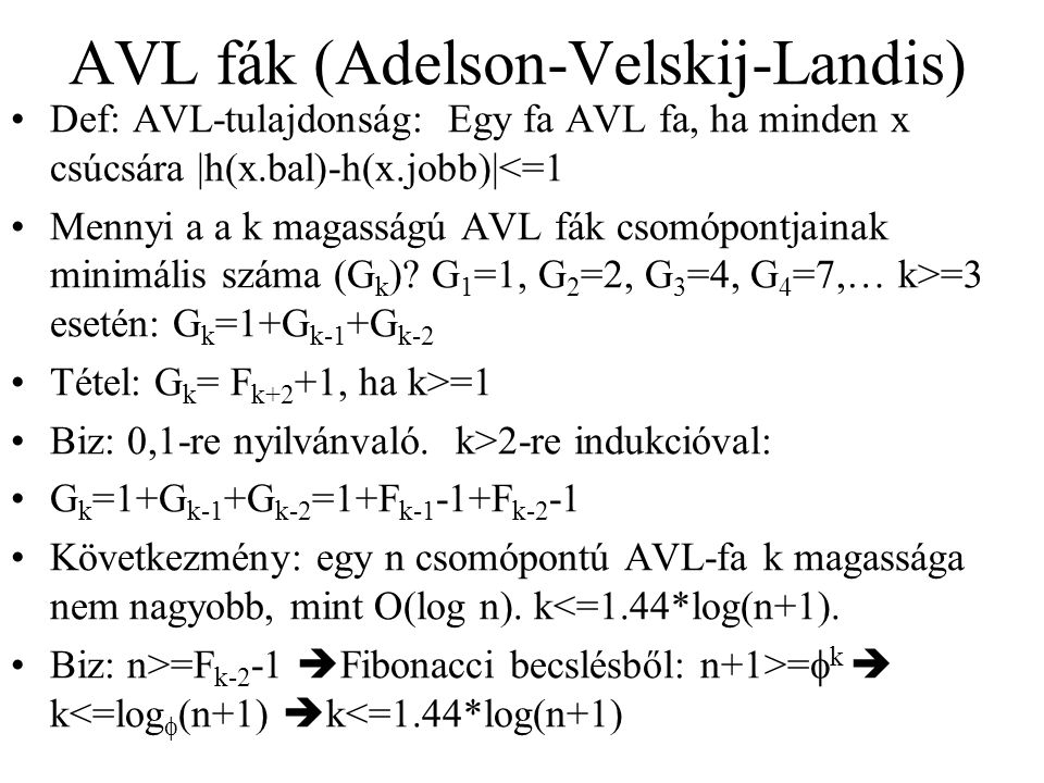 AVL fák (Adelson-Velskij-Landis)