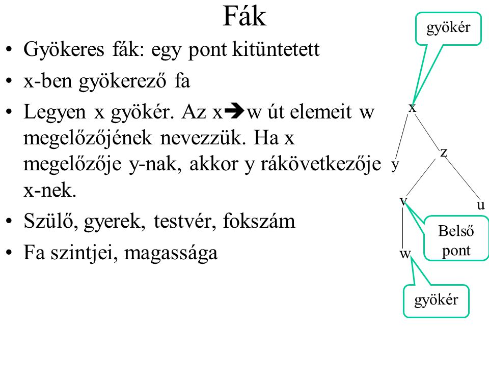 Fák Gyökeres fák: egy pont kitüntetett x-ben gyökerező fa
