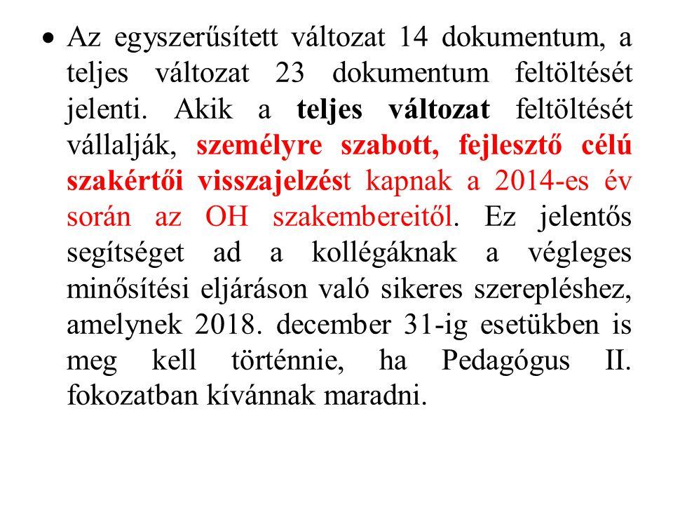 Az egyszerűsített változat 14 dokumentum, a teljes változat 23 dokumentum feltöltését jelenti.