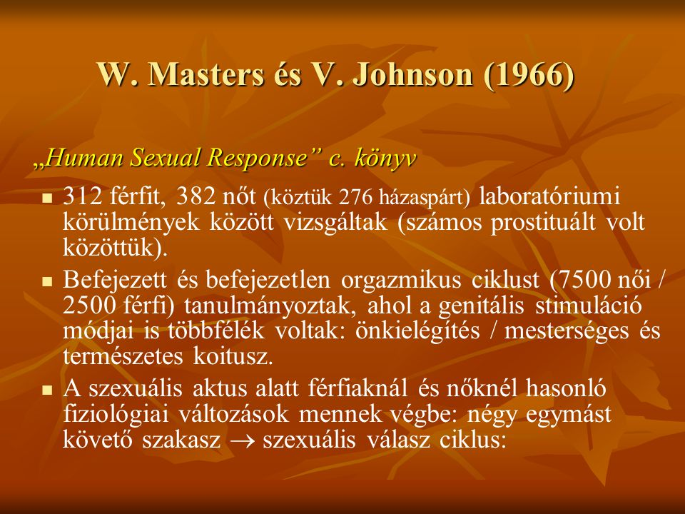 W. Masters és V. Johnson (1966)