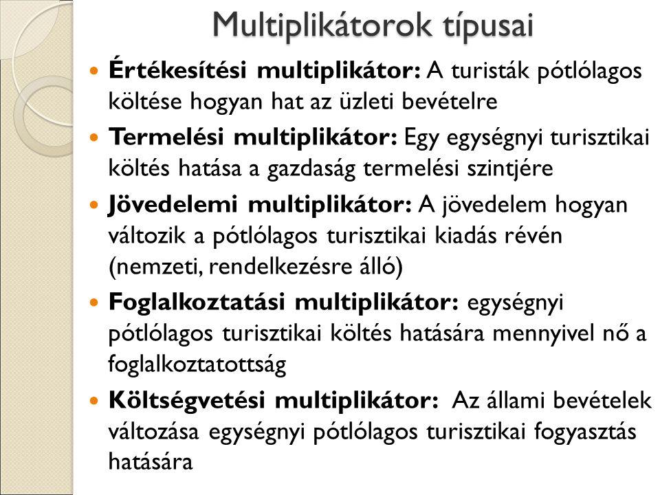 Multiplikátorok típusai
