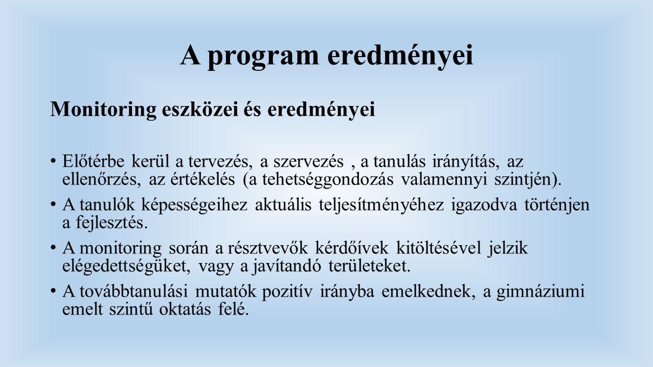 A program eredményei Monitoring eszközei és eredményei