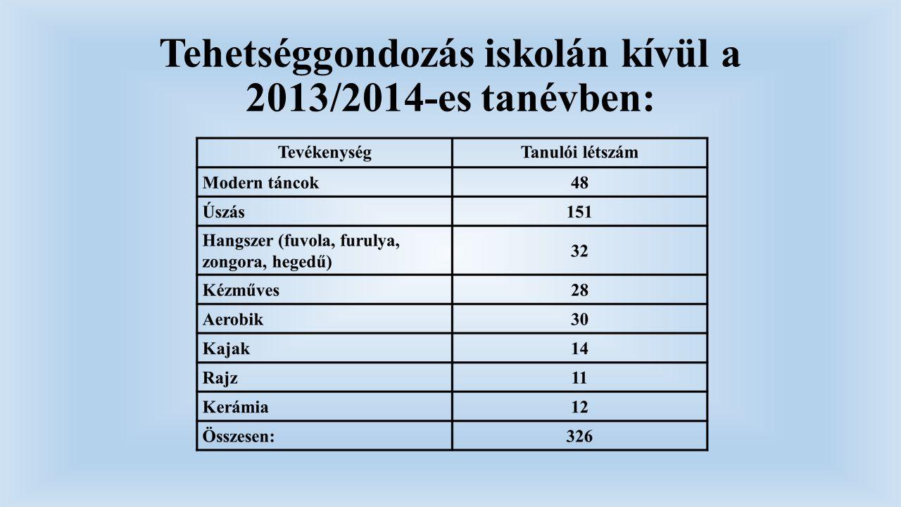 Tehetséggondozás iskolán kívül a 2013/2014-es tanévben: