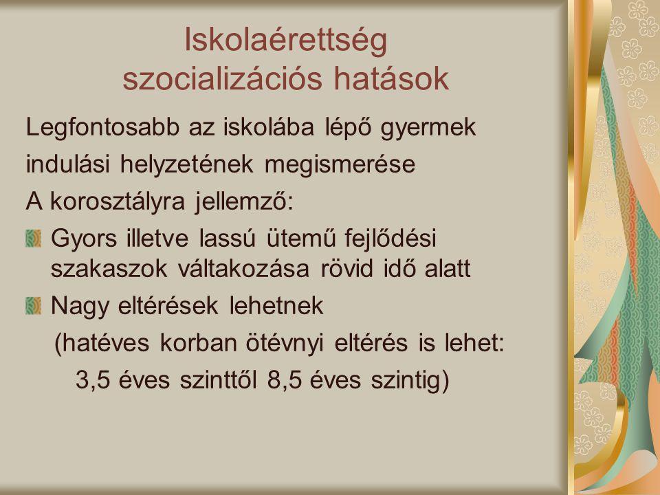 Iskolaérettség szocializációs hatások