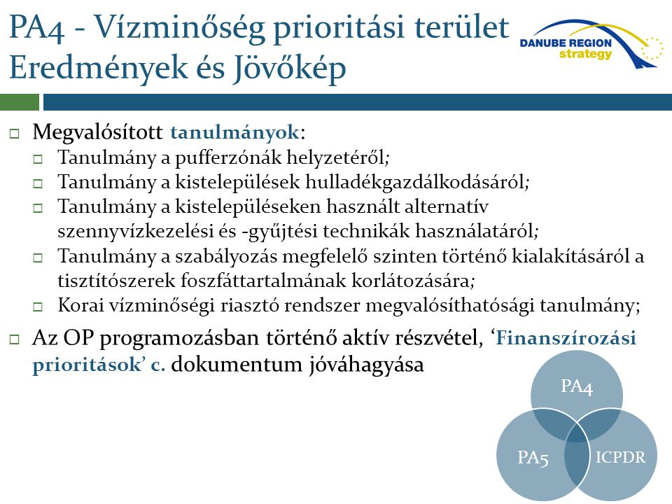 PA4 - Vízminőség prioritási terület Eredmények és Jövőkép