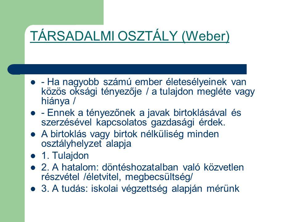 TÁRSADALMI OSZTÁLY (Weber)