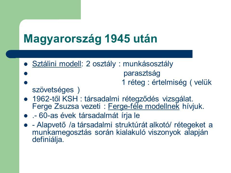 Magyarország 1945 után Sztálini modell: 2 osztály : munkásosztály